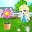 Baby Elsa Flower Care Game Online kiz10