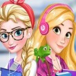 Game Elsa & Rapunzel College Girls